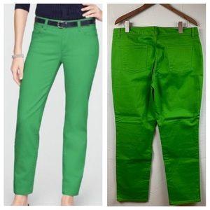 Talbots signature slim ankle 5-pocket green jeans
